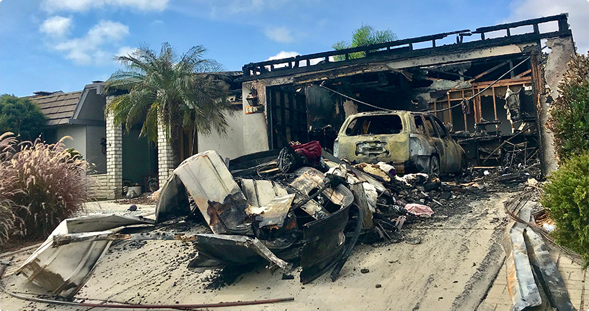 House Fire Caused This Garage To Be Burned