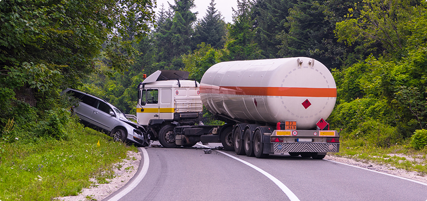 Truck Accident With A Car On The Road
